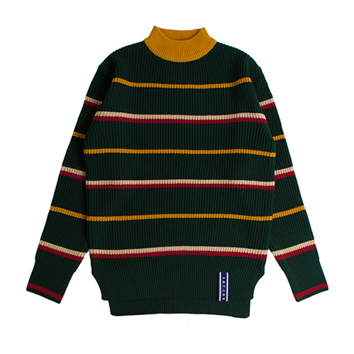 Stripe Mid Neck Knit_Green