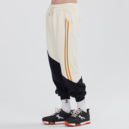 COLOR BLOCK LOGO SWEAT PANTS_OATMEAL