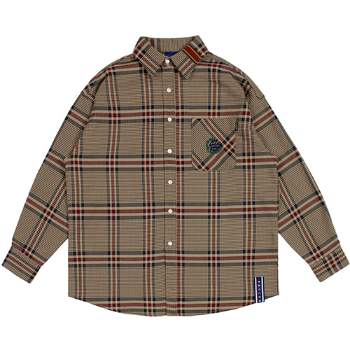 OLD CHECK WIDE SHIRT_BEIGE
