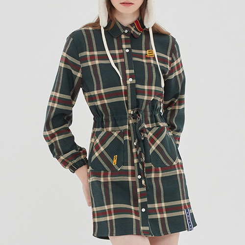 OLD CHECK SHIRT DRESS_GREEN