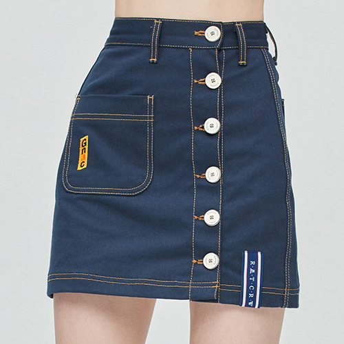 GNAC Side Button Skirt_Navy