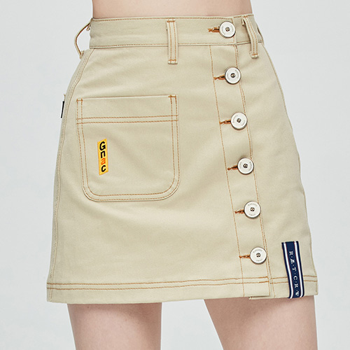 GNAC Side Button Skirt_Beige