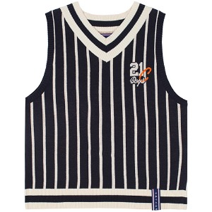 V NECK STRIPE VEST_NAVY
