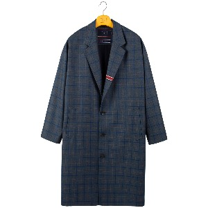 FRIDAY THREE BUTTON CHECK COAT_BLUE