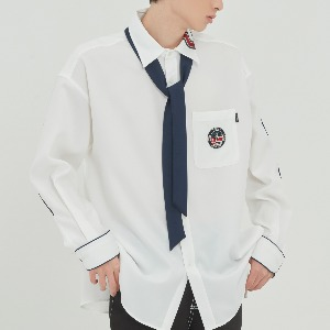 [3/4 예약발송]PIPING TIE SHIRT_WHITE